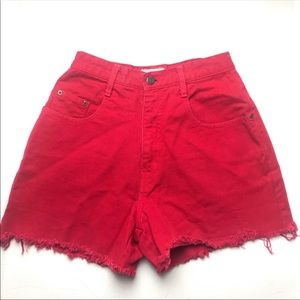 Vintage Forelli Red High Waisted Cutoff Shorts 4